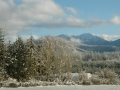 View of Olympic Mountains in winter 2